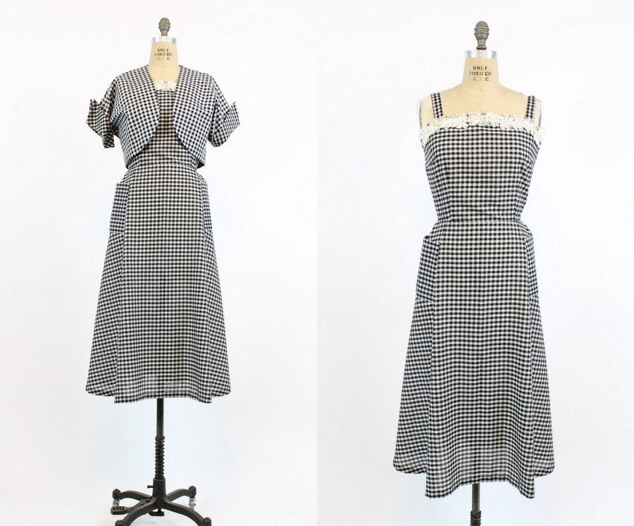 1950s gingham dress and bolero small | vintage cotton sun dress
