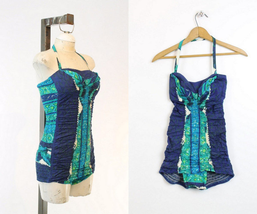 1950s Miss Hawaii swimsuit xs | batik cotton halter one piece swimwear
