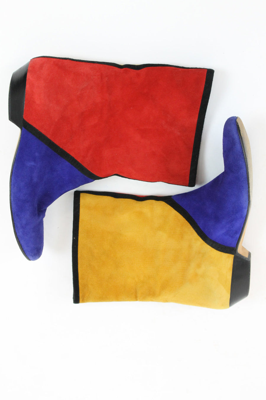 1980s Andrea Pfister boots  | size 6.5 | vintage colorblock mod ankle boots