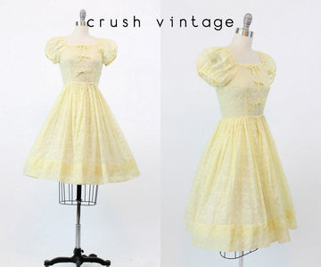 1950s Teena Paige organza dress xs | vintage lemon dress | new in