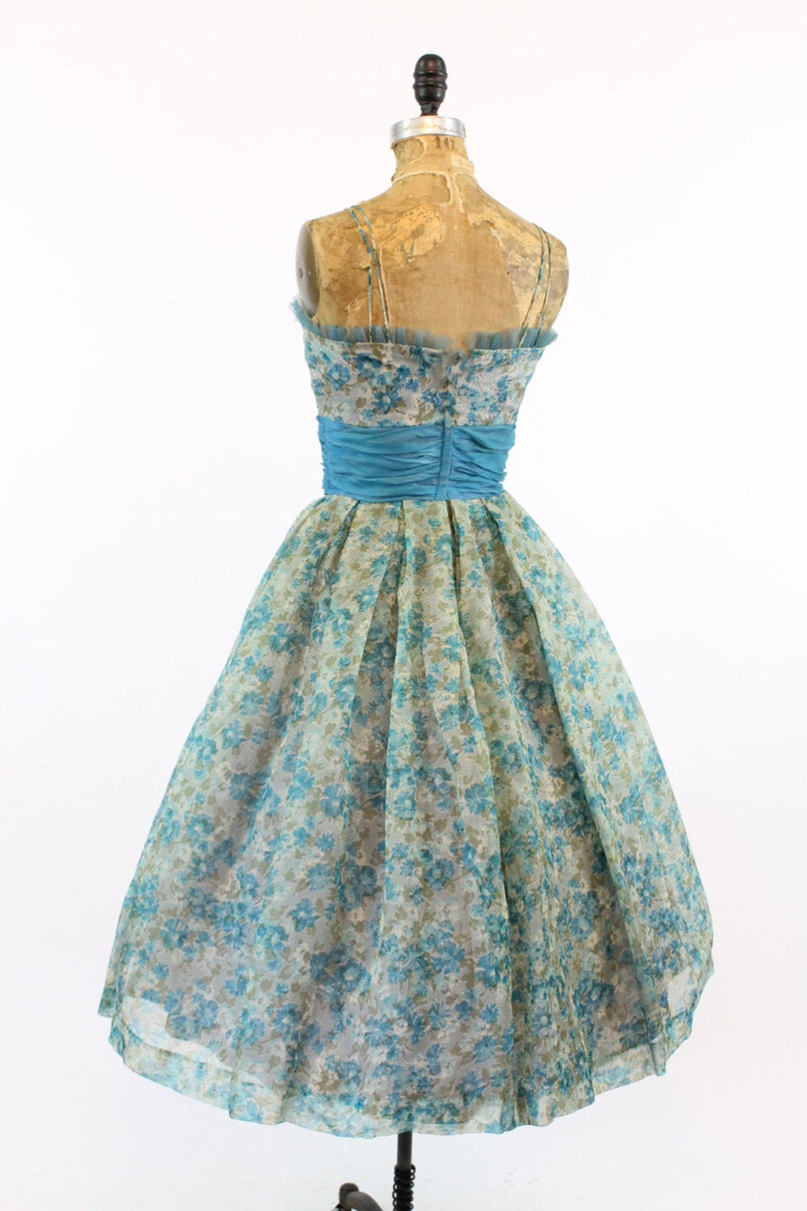 1950s floral organza dress xxs | vintage cummerbund waist dress | new in