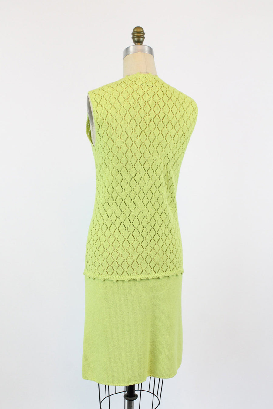 1970s St John Knits chartruese dress | vintage crochet knit sweater dress | small