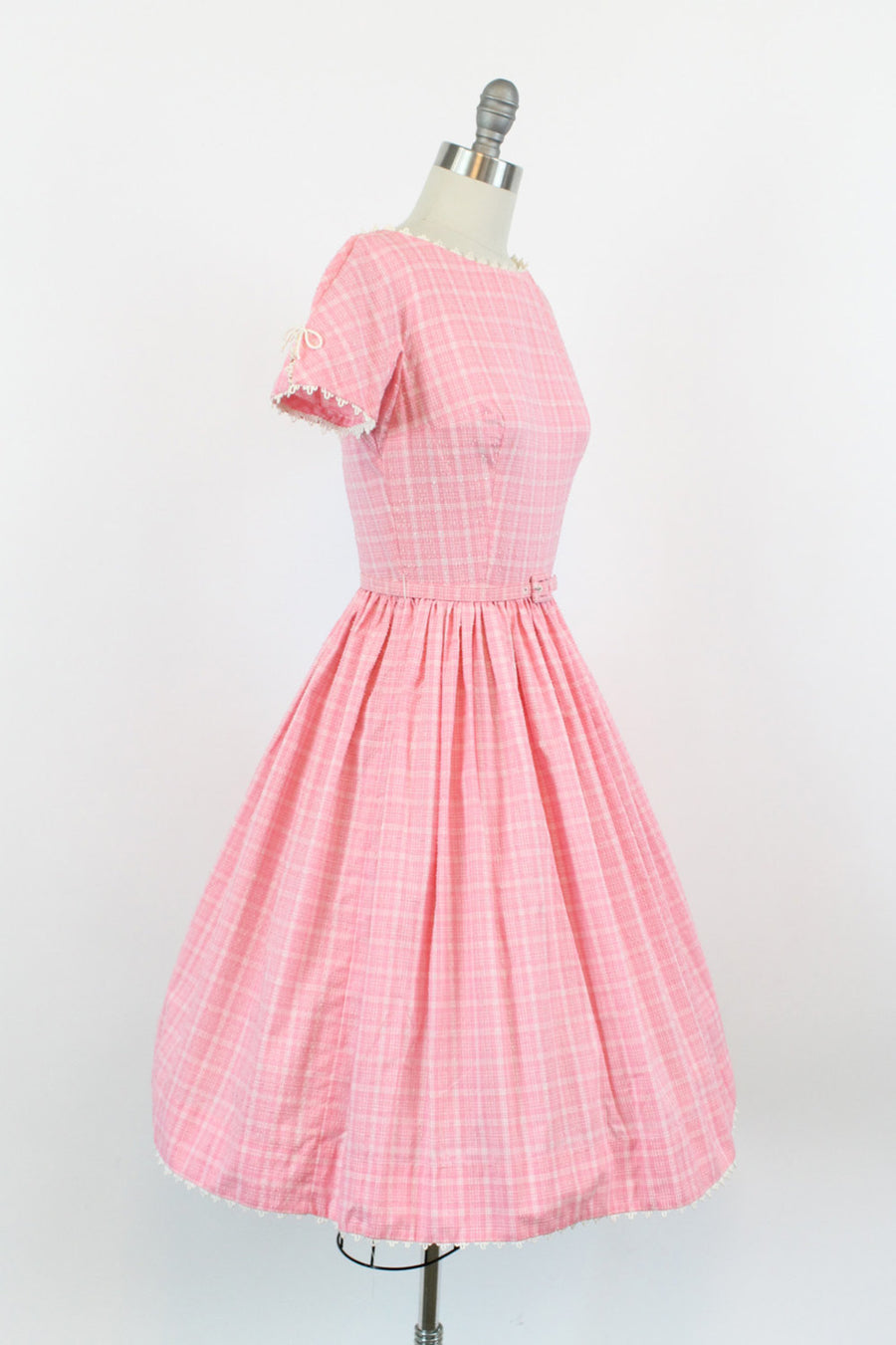 1950s Lanz plaid cotton dress xs | vintage pink dress