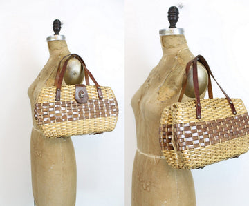 1960s wicker summer handbag | vintage leather strap bag purse