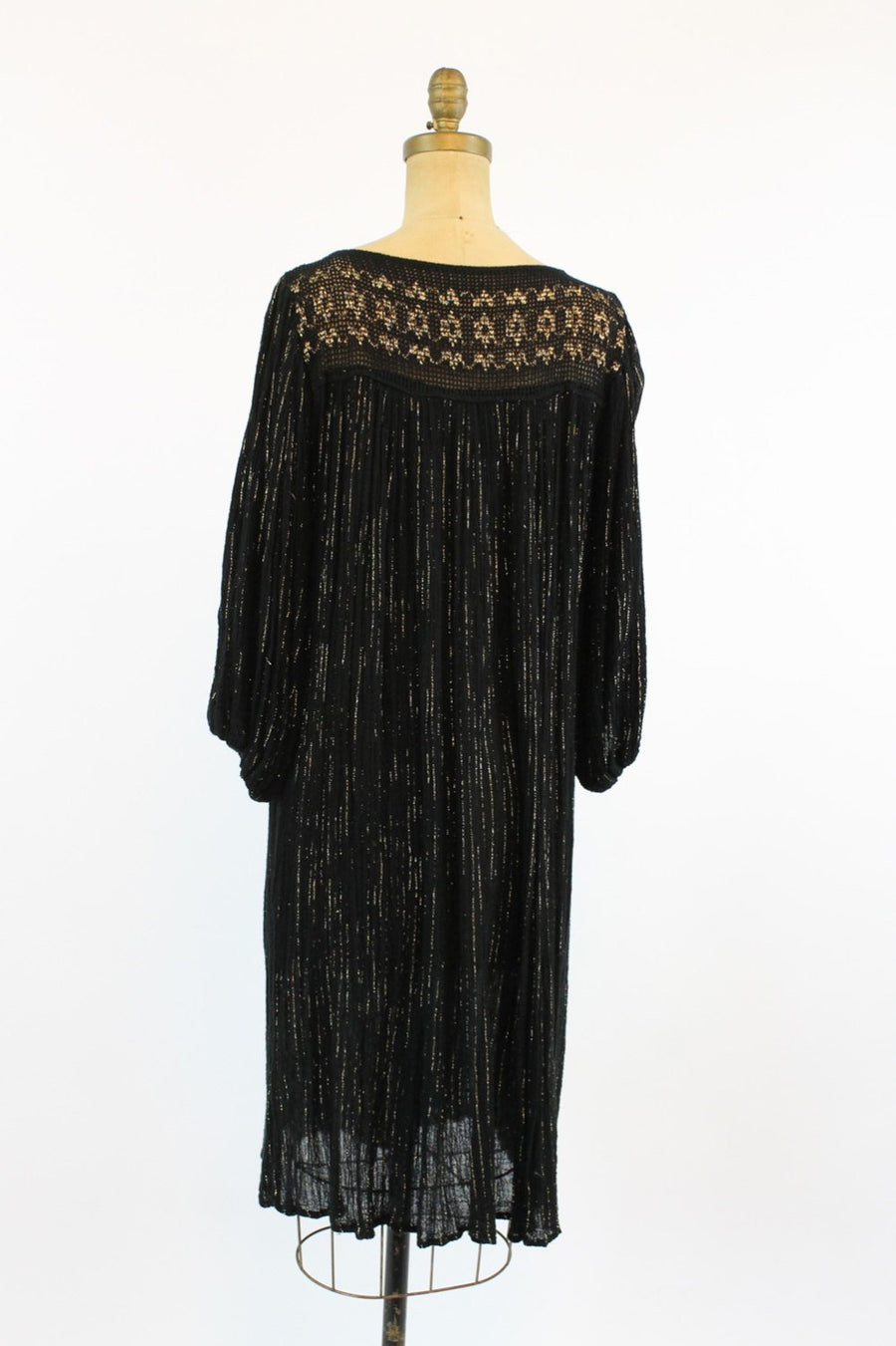 1970s gauzy cotton caftan dress all size | vintage gold crochet dress