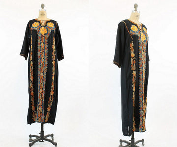 1970s embroidered caftan dress xs small medium | vintage dashiki | new in