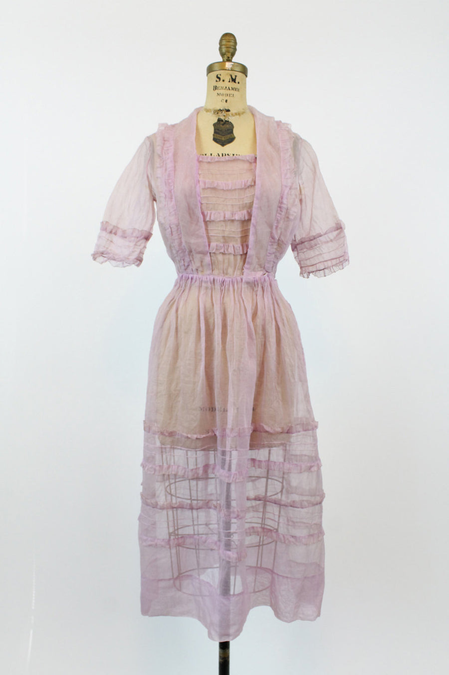 1930s lavender organdy dress small | vintage ruffled belted sheer dress