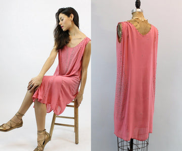 1920s rhinestone silk pink dress small medium | vintage chemise dress