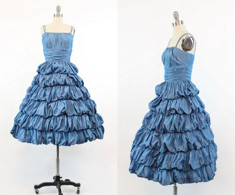 1950s  Jr Theme ruffled dress xs | vintage cocktail dress | new in