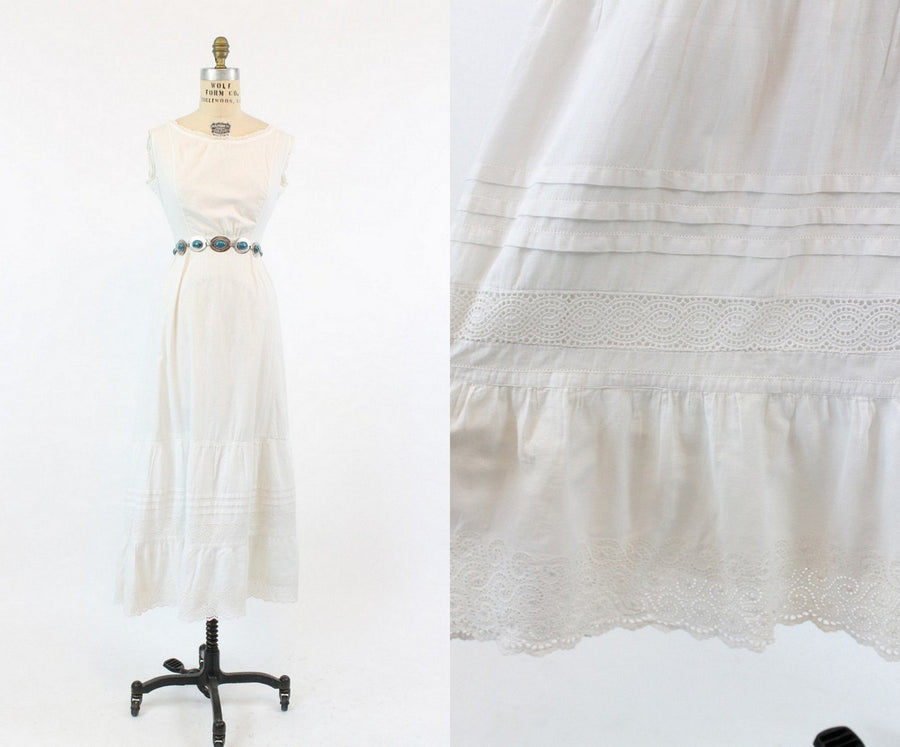 1910s Edwardian Dress XS / Antique White Lace Cotton Dress / Summer Solstice Dress