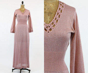 1970s maxi dress | sparkly knit | small - medium