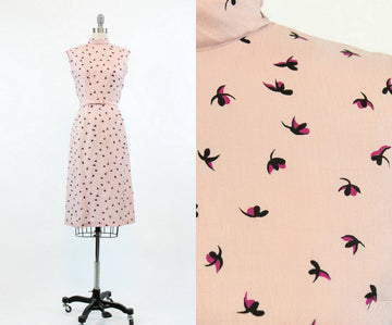 1940s floral rayon dress xxs | vintage wiggle dress | new in