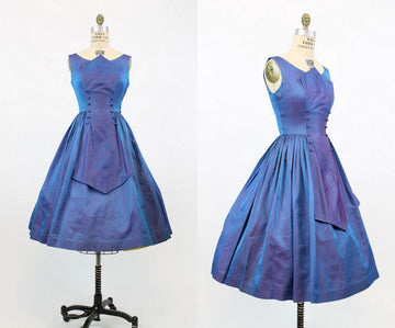 1950s iridescent sharkskin dress xs | vintage full skirt dress | new in