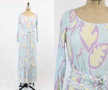 1980s Mary McFadden dress small medium | vintage fortuny pleated gown