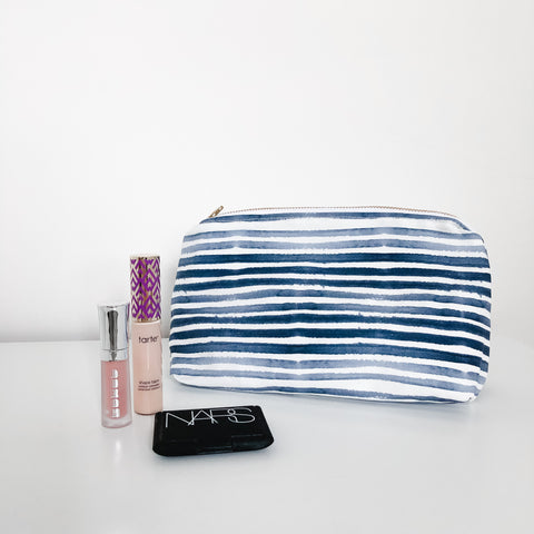 Caitlin Navy Holiday Makeup Bag