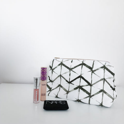 Emma Olive Green Holiday Makeup Bag