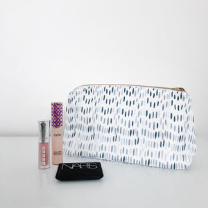 Maggie Navy & Powder Blue Holiday Makeup Bag