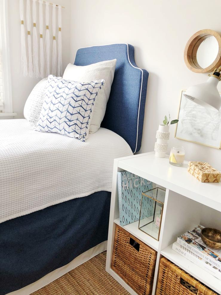 Navy Blue w/ White Pipe Headboard