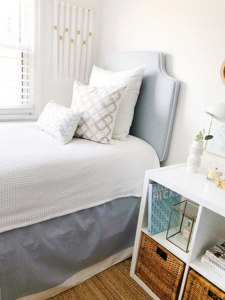 Powder Blue w/ White Pipe Headboard
