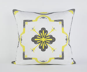 Mackenzie Pillow in Buttercup/Gray