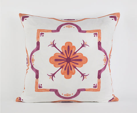 Mackenzie Pillow in Mango/Dark Pink