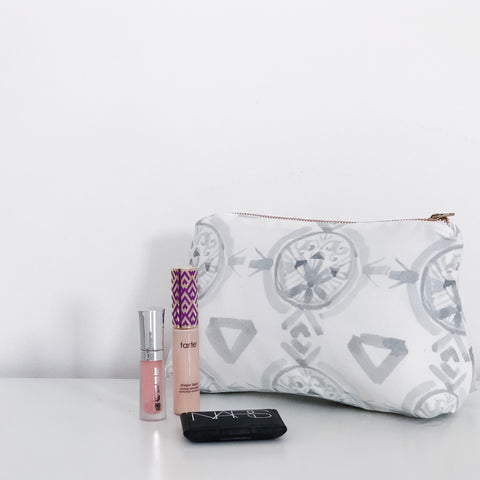 Claire Pewter Gray Holiday Makeup Bag