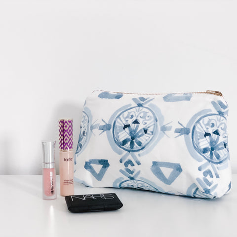Claire Navy Blue Holiday Makeup Bag