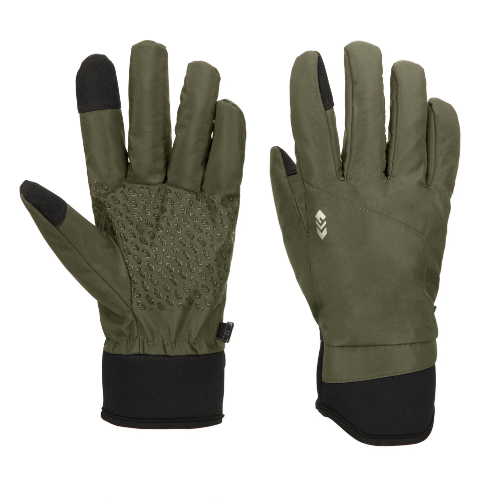 Free Country Softshell Winter Gloves for Men (Olive)