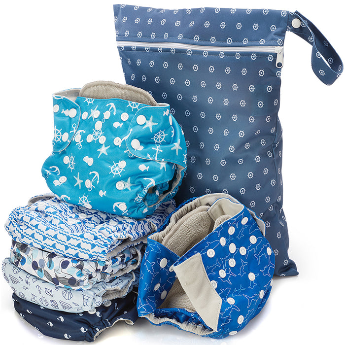 Under The Sea Print Unisex Reusable Baby Cloth Diapers-SimplyLife Home