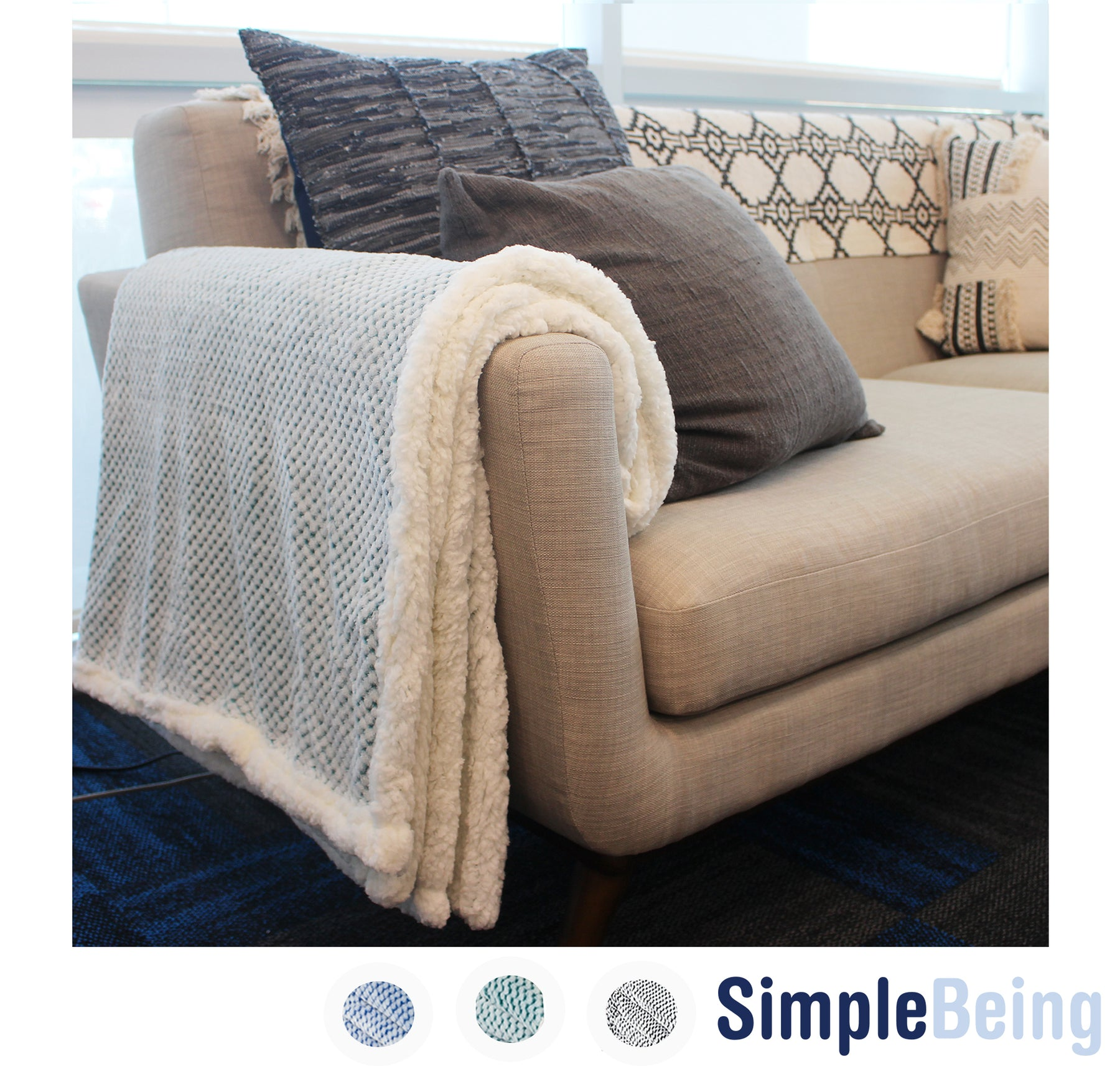 Simple Being Green Flannel Sherpa Blanket