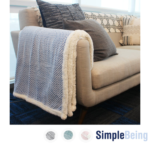 Simple Being Blue Flannel Sherpa Blanket