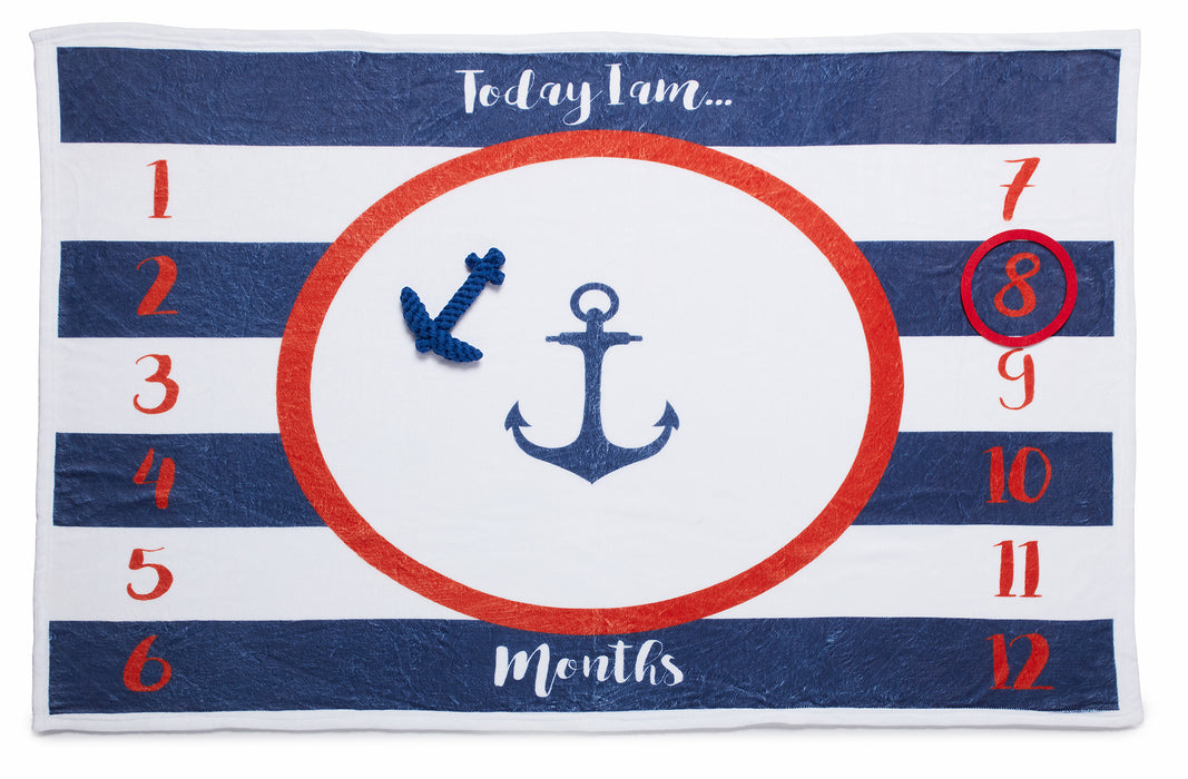 Simple Being Anchor Theme Baby Monthly Milestone Blanket