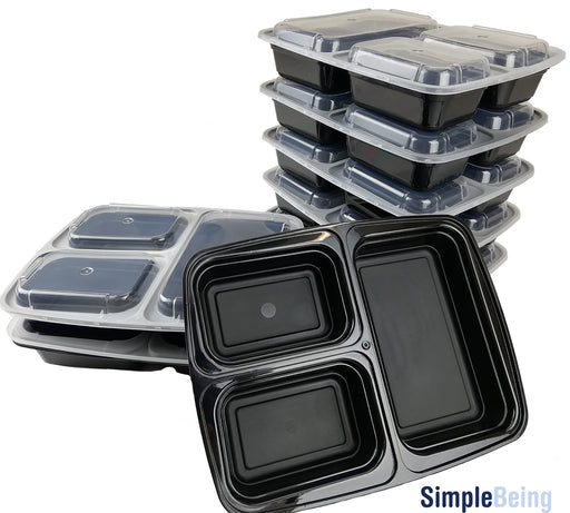 Simple Being [7 Pack] 3 Compartment Meal Prep Containers