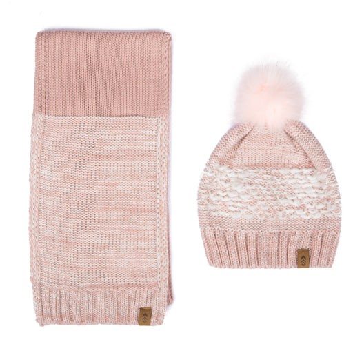 Free Country Scarf Beanie Set for Women (Knit Twist Blush)