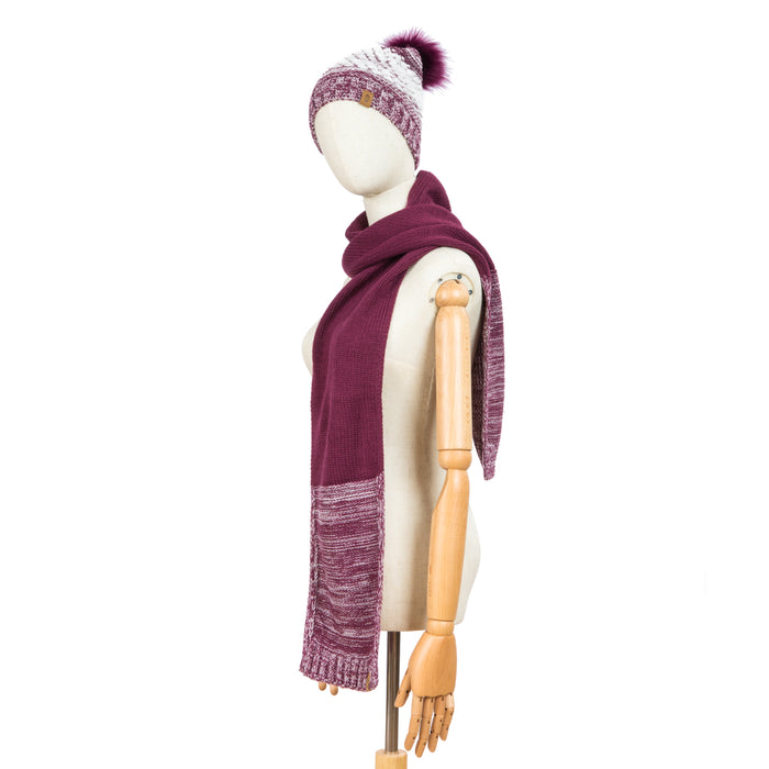 Free Country Scarf Beanie Set for Women (Knit Twist Wine)
