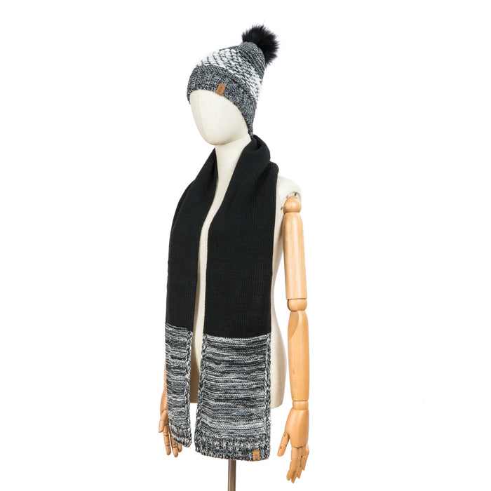 Free Country Scarf Beanie Set for Women (Knit Twist Black)