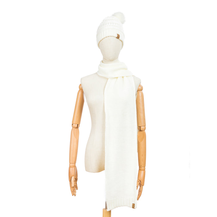 Free Country Scarf Beanie Set for Women (Knit Ivory)