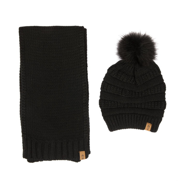 Free Country Scarf Beanie Set for Women (Knit Black)
