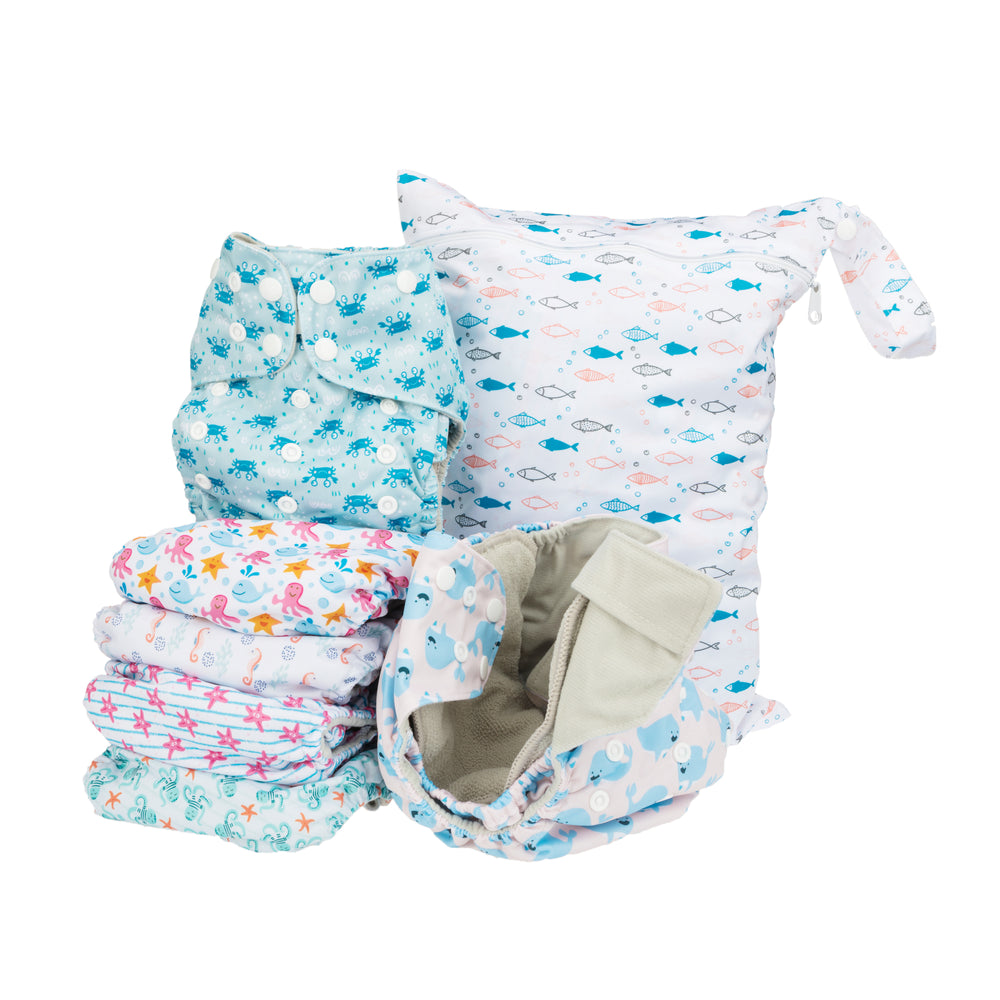 Simple Being Ocean Animals Print Unisex Reusable Baby Cloth Diapers
