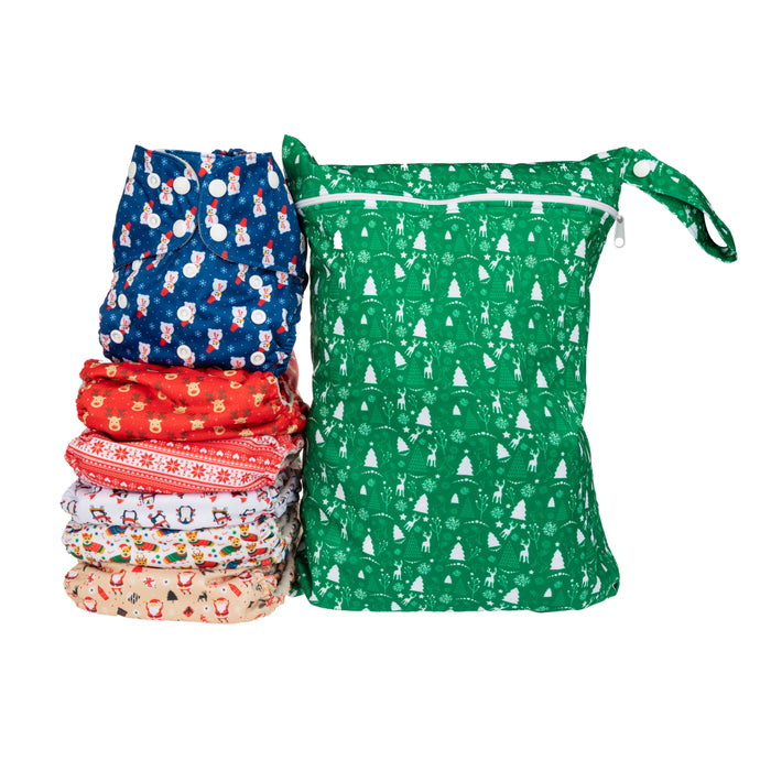 Simple Being Christmas Print Unisex Reusable Baby Cloth Diapers