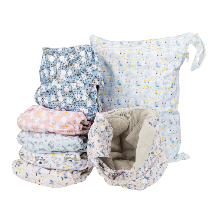 Simple Being Unicorn Print Unisex Reusable Baby Cloth Diapers