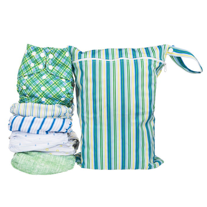 Simple Being Boys Stripes Print Unisex Reusable Baby Cloth Diapers