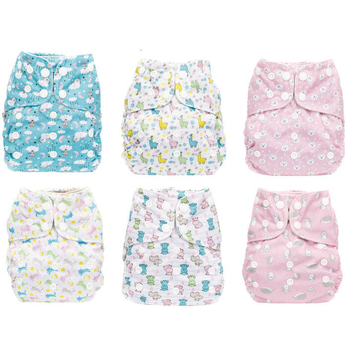 Simple Being Girls Animals Print Unisex Reusable Baby Cloth Diapers