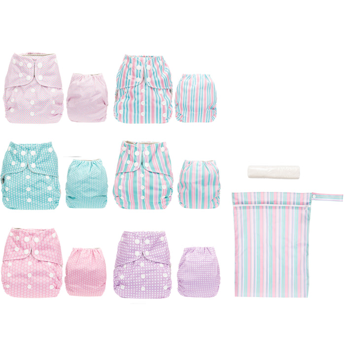 Simple Being Girls Stripes Print Unisex Reusable Baby Cloth Diapers