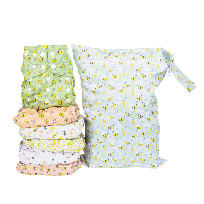 Simple Being Bugs Print Unisex Reusable Baby Cloth Diapers