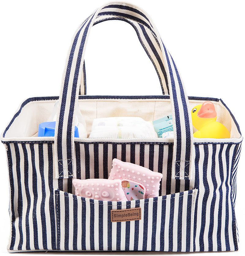 Simple Being Diaper Caddy (Blue Stripe)