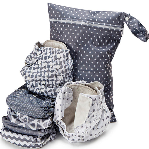 Geometric Print Unisex Reusable Baby Cloth Diapers