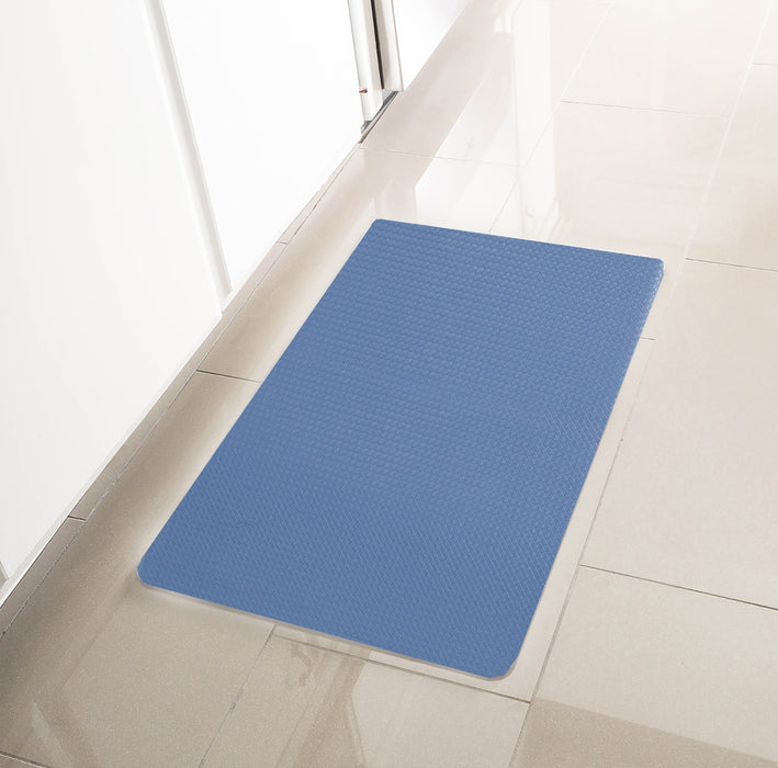"Simple Being Blue/Tan Anti-Fatigue Kitchen Floor Mat (32"" x 17.5"")"