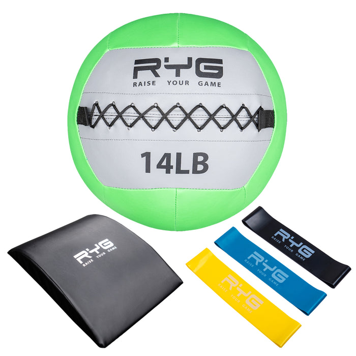 Raise Your Game 14lb Wall Ball Set with Ab Mat