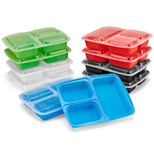 [10 Pack] 3 Compartment Meal Prep Containers